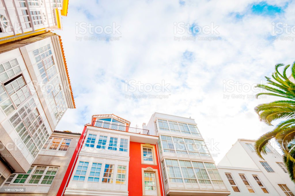 Colorful buildings - La Coruna, Galicia, Spain stock photo
