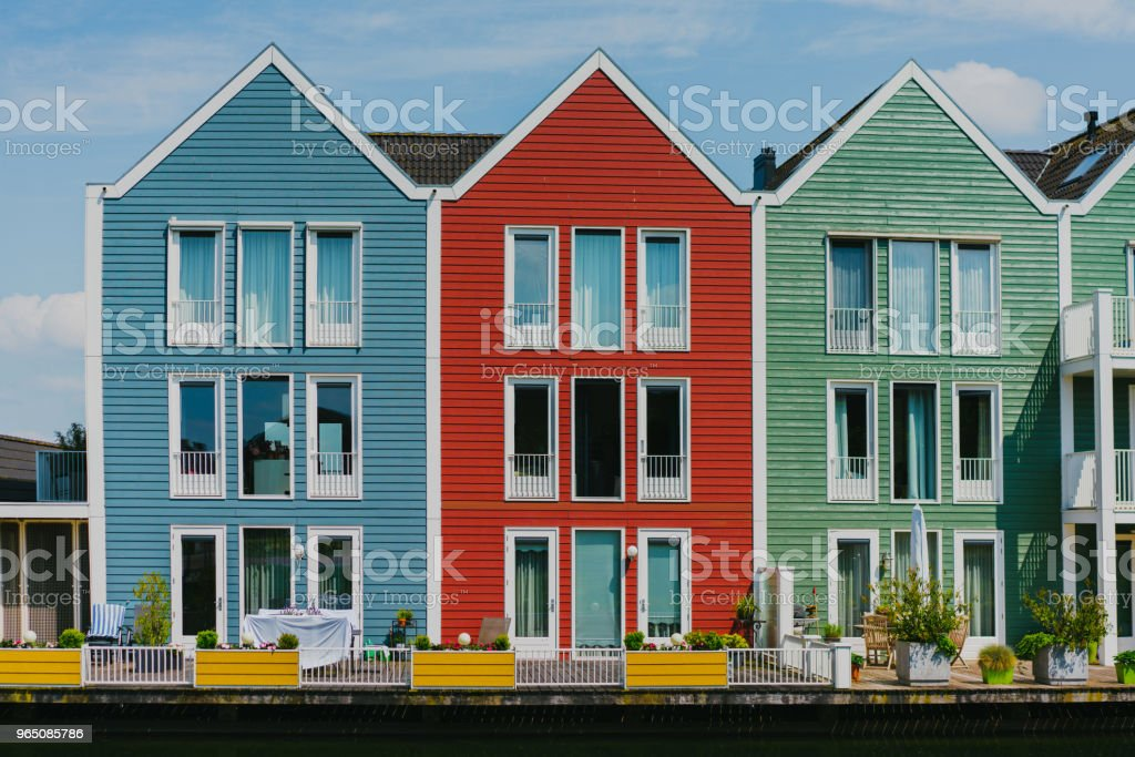 Colorful buildings near the lake royalty-free stock photo