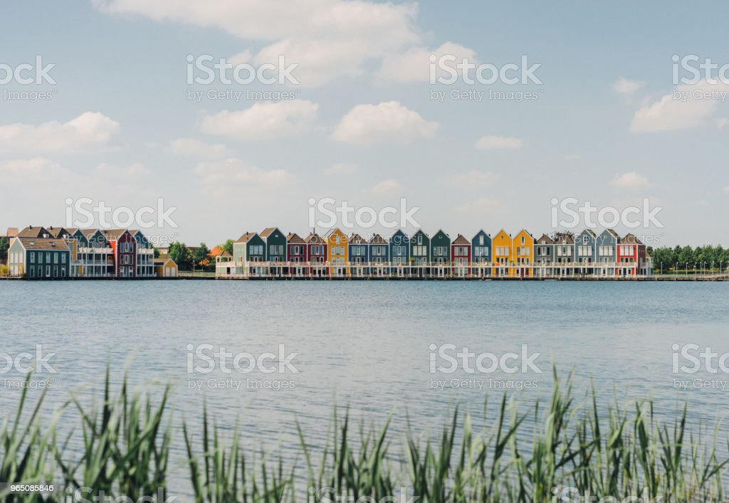 Colorful buildings near the lake zbiór zdjęć royalty-free