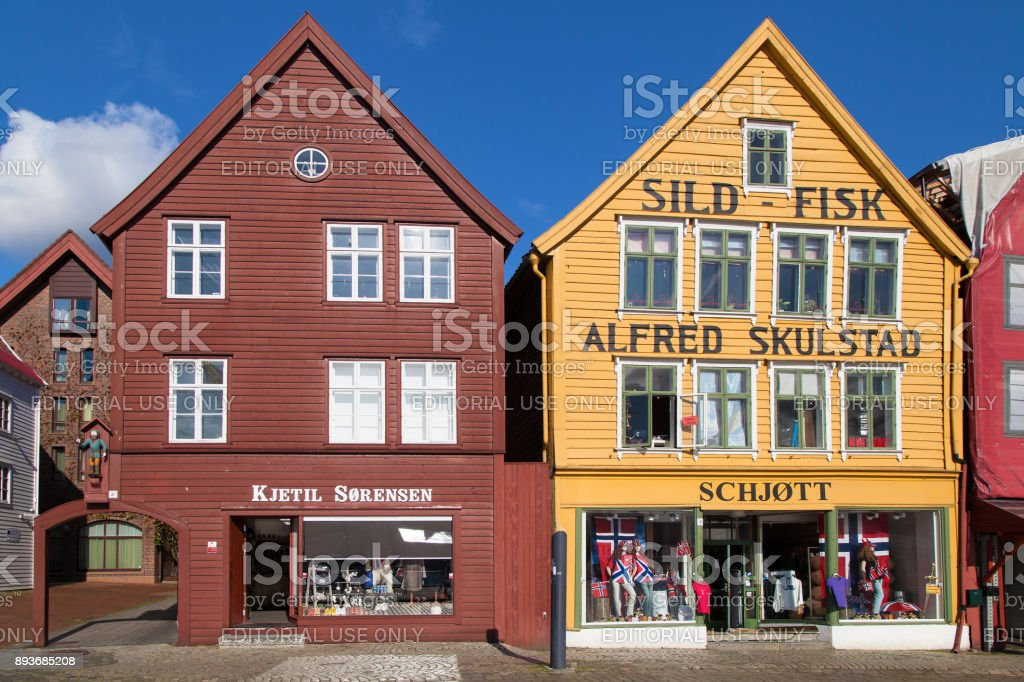 Colorful Buildings of Bryggen stock photo