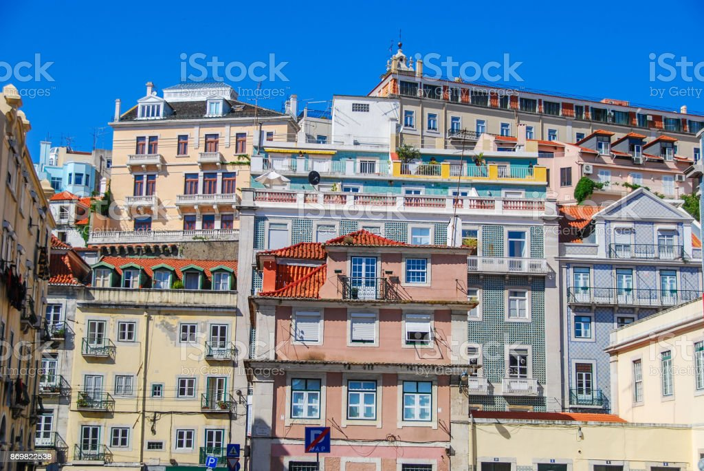 Colorful buildings of Lisbon stock photo