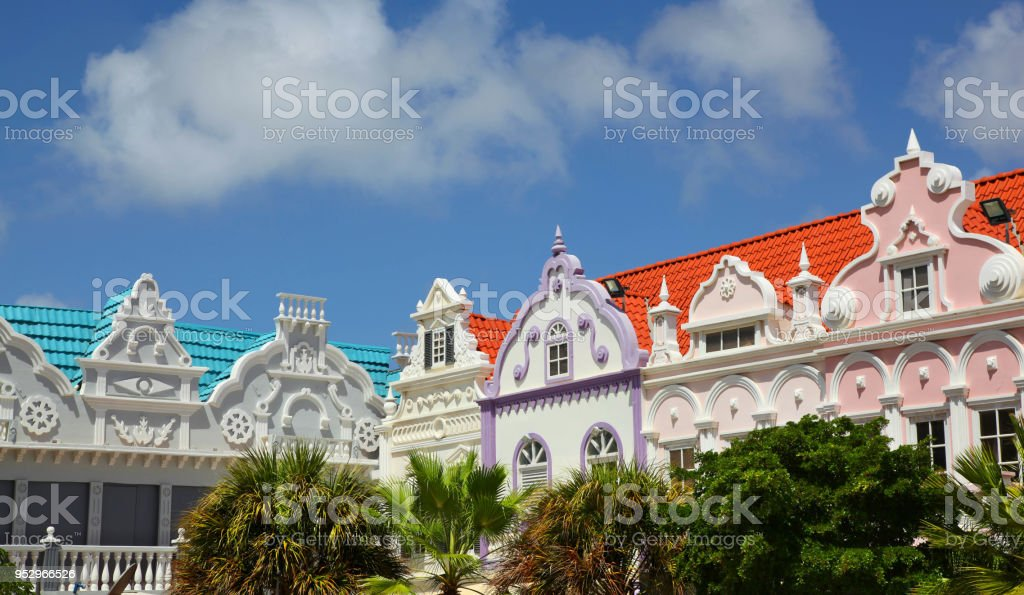 Colorful buildings of Oranjestad Aruba – zdjęcie