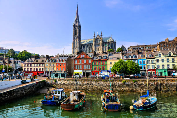 Colorful buildings, old boats and cathedral, Cobh harbor, County Cork, Ireland stock photo