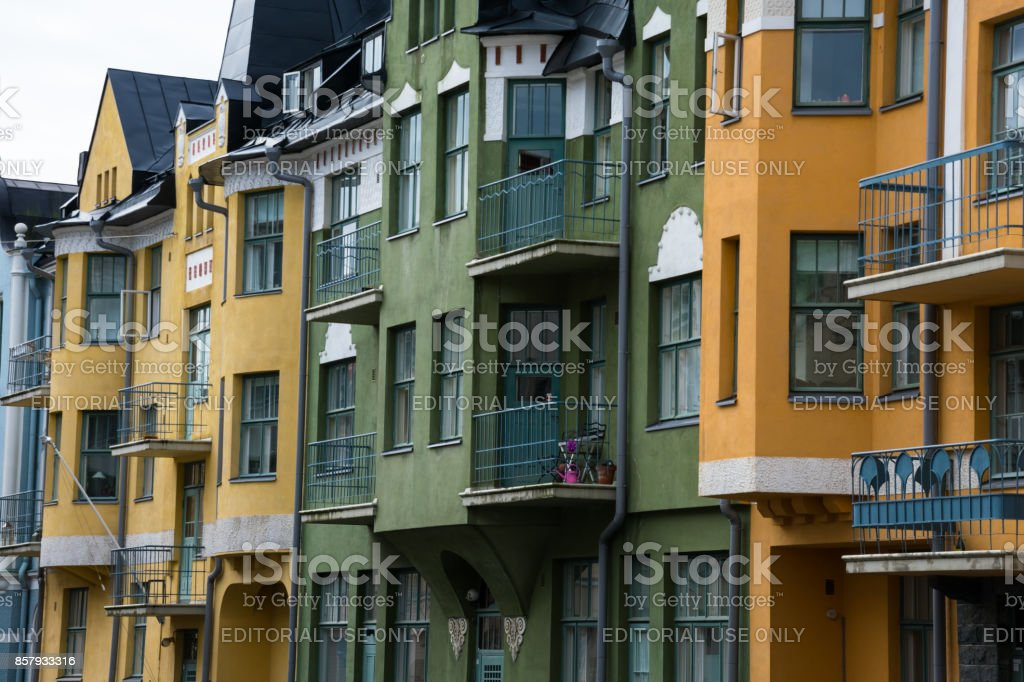 Colorful buildings on a sunny summer day stock photo