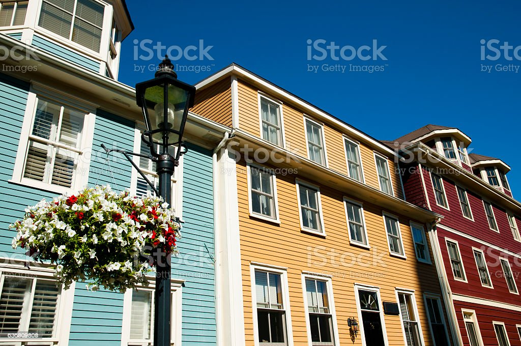 Colorful Buildings on Great George St - Charlottetown - Canada stock photo
