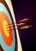3 arrows hit a bulls-eye,  includes copyspace