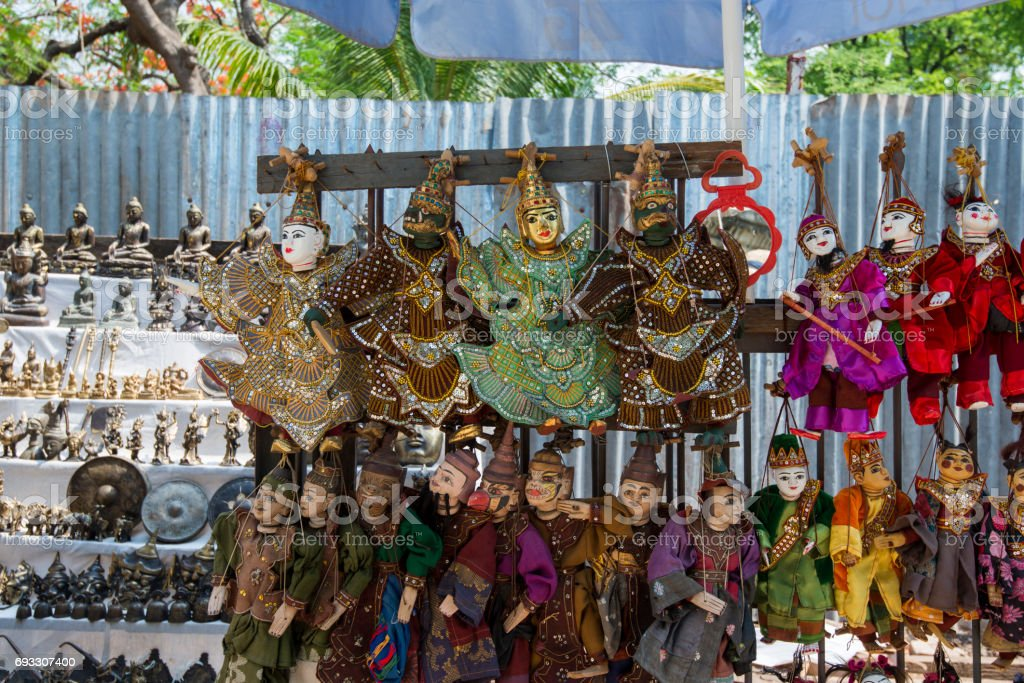 Colorful Burmese Puppets sold on the street of Myanmar stock photo