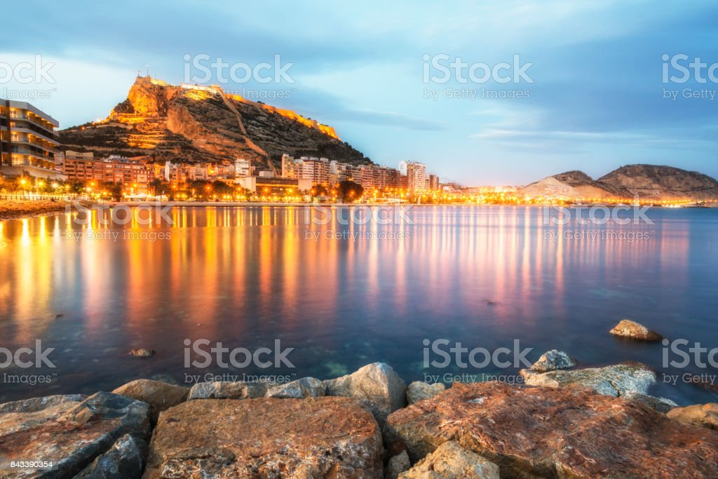 Colorful burning lights of Alicante at the night, Costa Blanca, Valencia province. Spain. stock photo