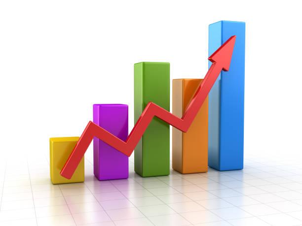 colorful business chart - diagramma a colonne foto e immagini stock