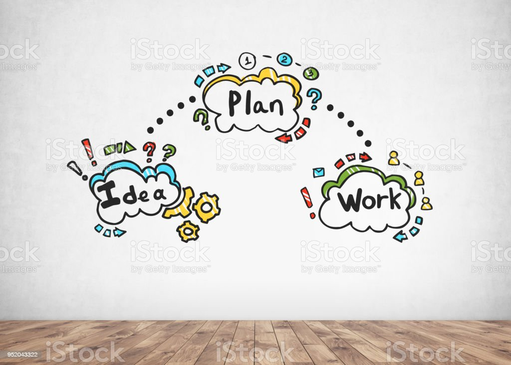 Colorful business plan and idea sketch stock photo