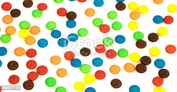 istock Colorful button shaped chocolates candy isolated 888837188