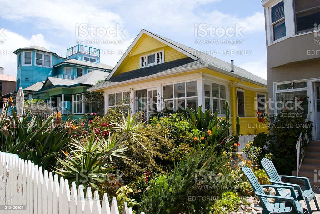 Colorful Californian Style Houses in Venice Beach, Los Angeles stock photo