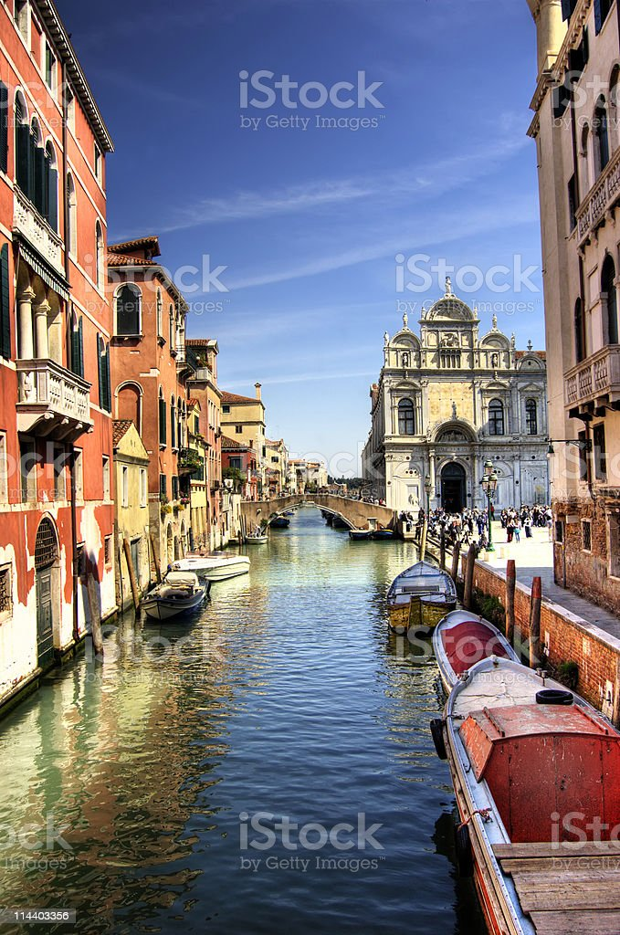 Colorful canal Venice, Italy royalty-free stock photo