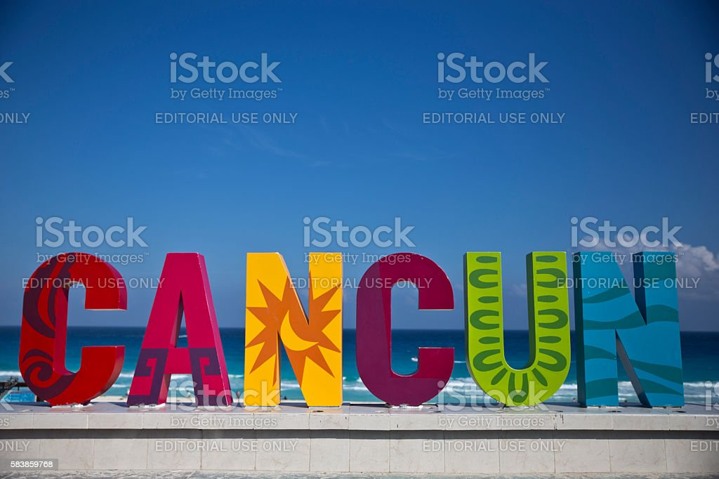 Colorful Cancun sign on the veranda of the beach. stock photo
