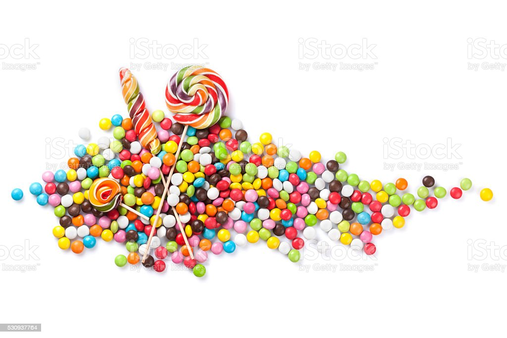 Colorful candies and lollipops stock photo