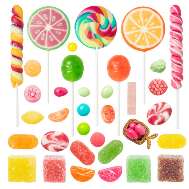 Colorful Candies and Sweets Isolated on White Background stock photo