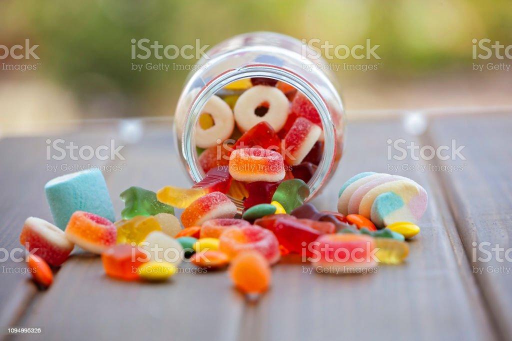 Renkli şeker, reçel ve marmelat stok fotoğrafı