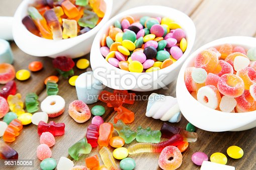 Colorful candies, jelly and marmalade in bowl