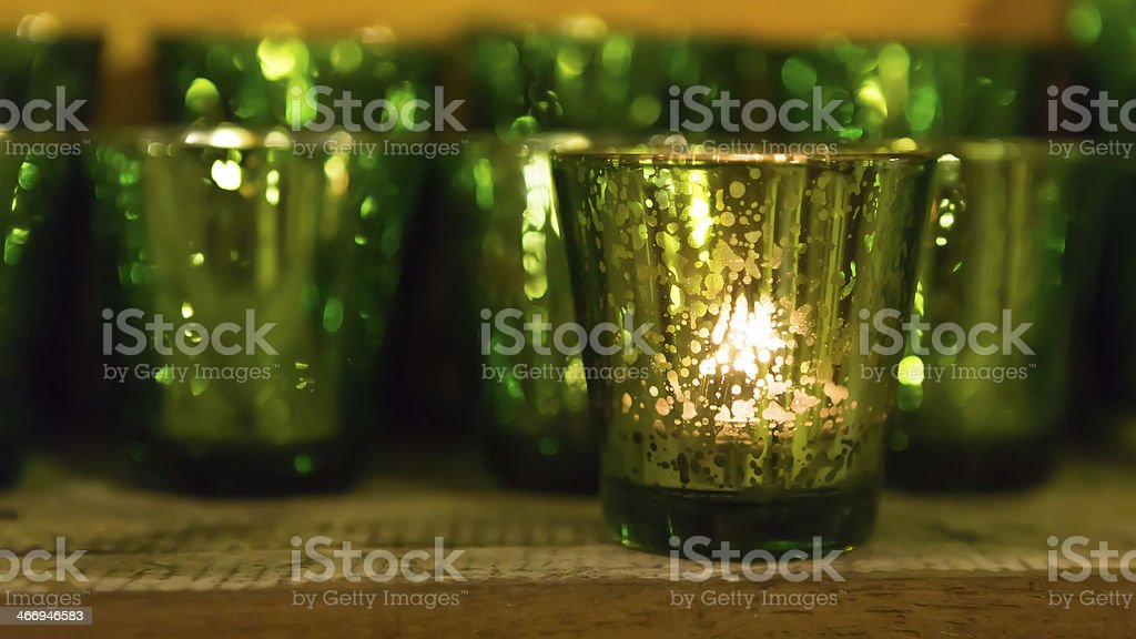 colorful candles in the glass royalty-free stock photo