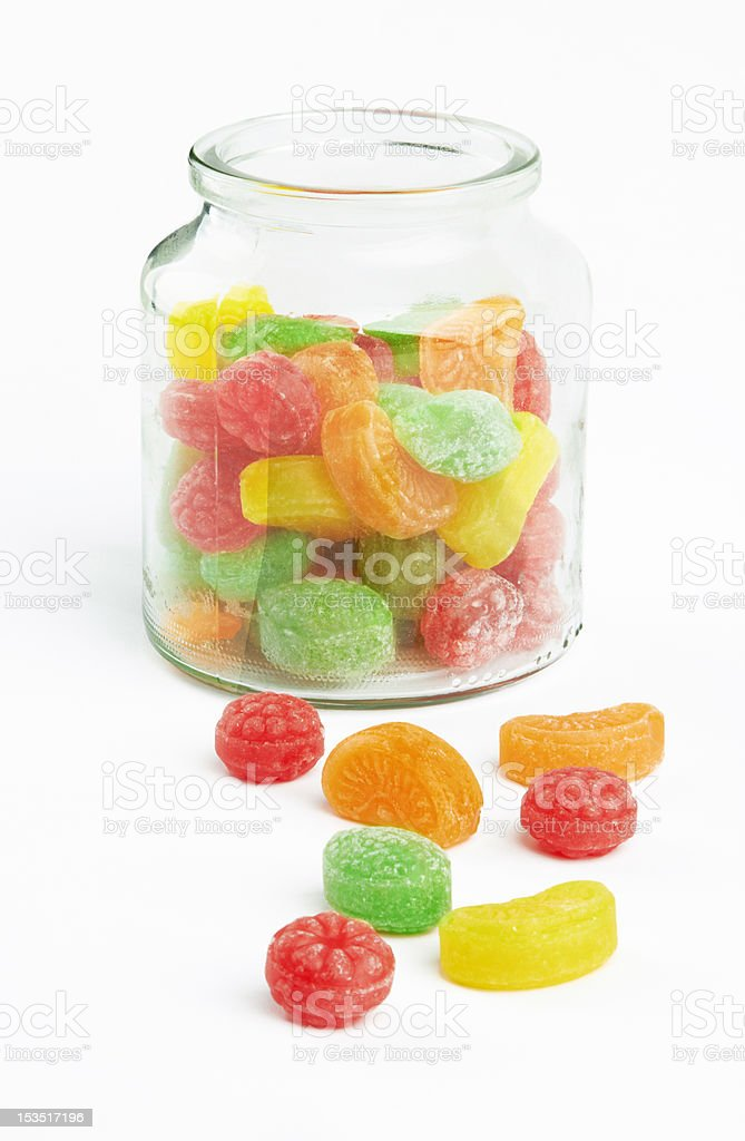 colorful candy in glass jar stock photo