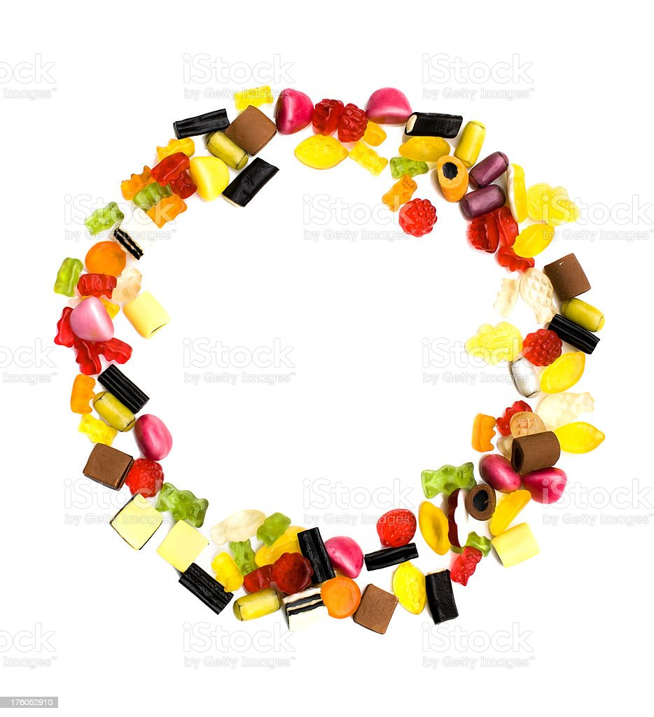 Colorful Candy mix decoration as a circle on white royalty-free stock photo