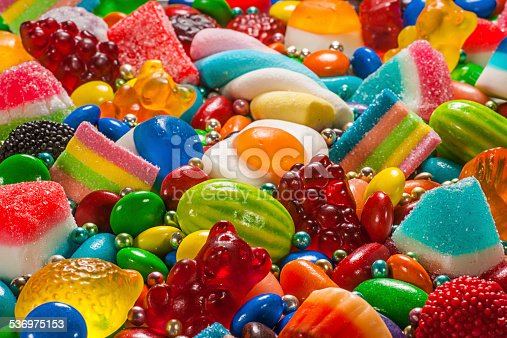 A close up landscape of colorful candy of many varieties.