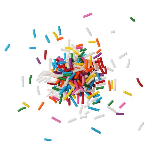 kolorowe cukierki posypka na białym tle - posypka zdjęcia i obrazy z banku zdjęć