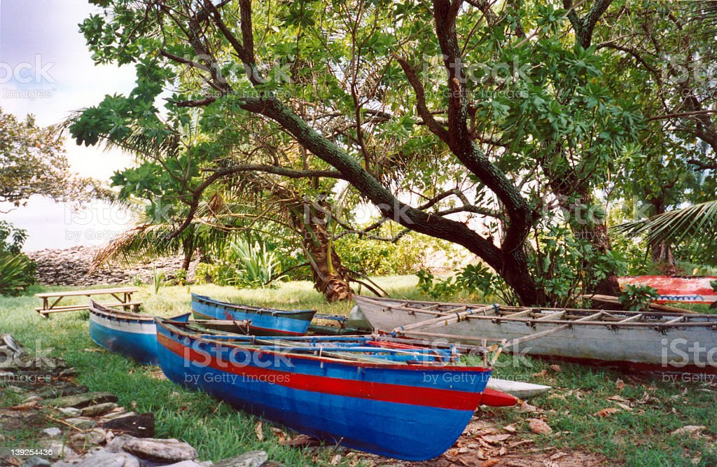 Colorful Canoes in the South Pacific stock photo