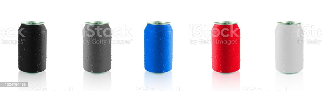 Colorful cans isolated on white background with clipping path , Cans paint and drops of water on the can stock photo