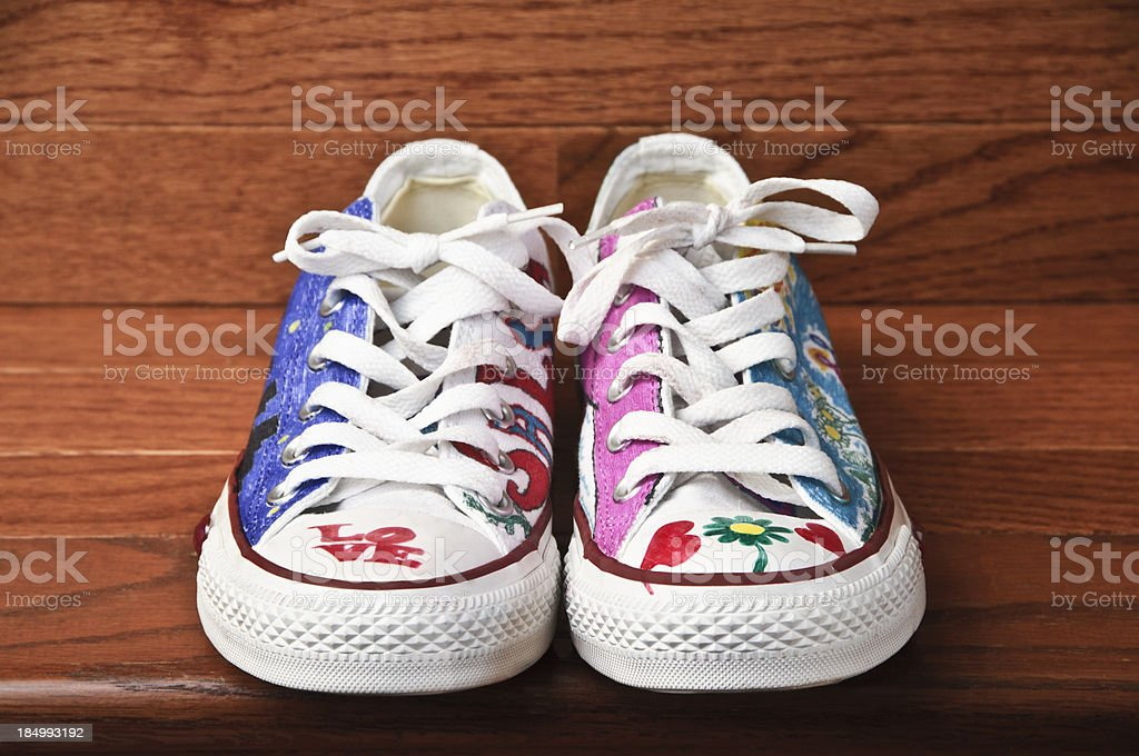 Colorful canvas tennis shoes stock photo