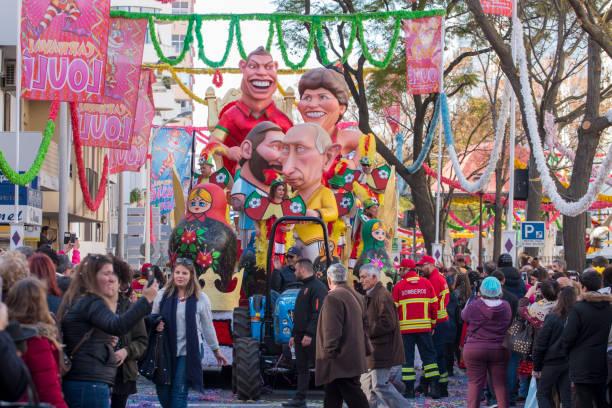 colorful carnival (carnaval) parade festival participants on loule city, portugal. - ronaldo imagens e fotografias de stock