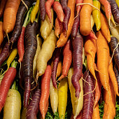 Colorful Carrots in Basket at Farmers Market