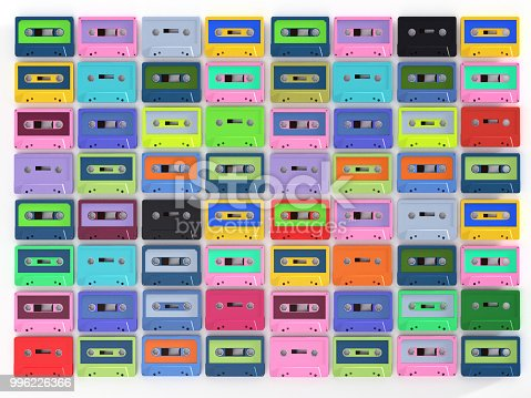 istock Colorful Cassette Tape Collection – 3d Rendering Vintage audio tapes 996226366
