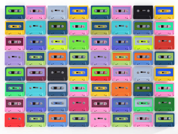 Colorful Cassette Tape Collection – 3d Rendering Vintage audio tapes stock photo