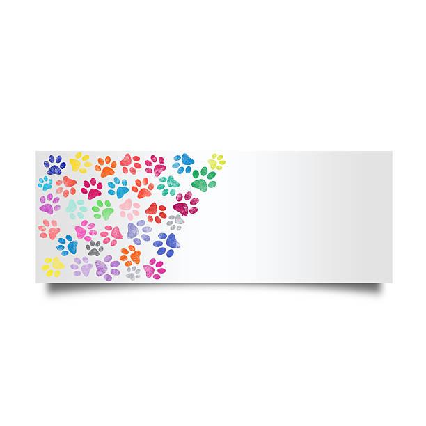 Colorful cat footprint card stock photo