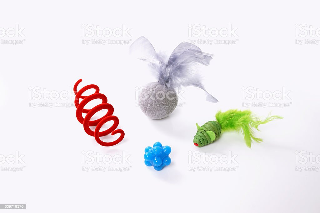 colorful cat toys stock photo