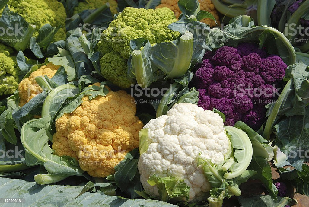 Colorful cauliflowers stock photo