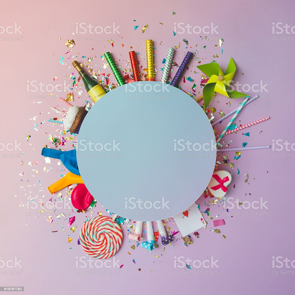 Colorful celebration background with various party confetti, bal - foto de stock