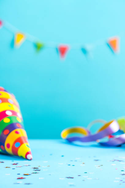 colorful celebration mockup,birthday card - happy birthday banner stock photos and pictures
