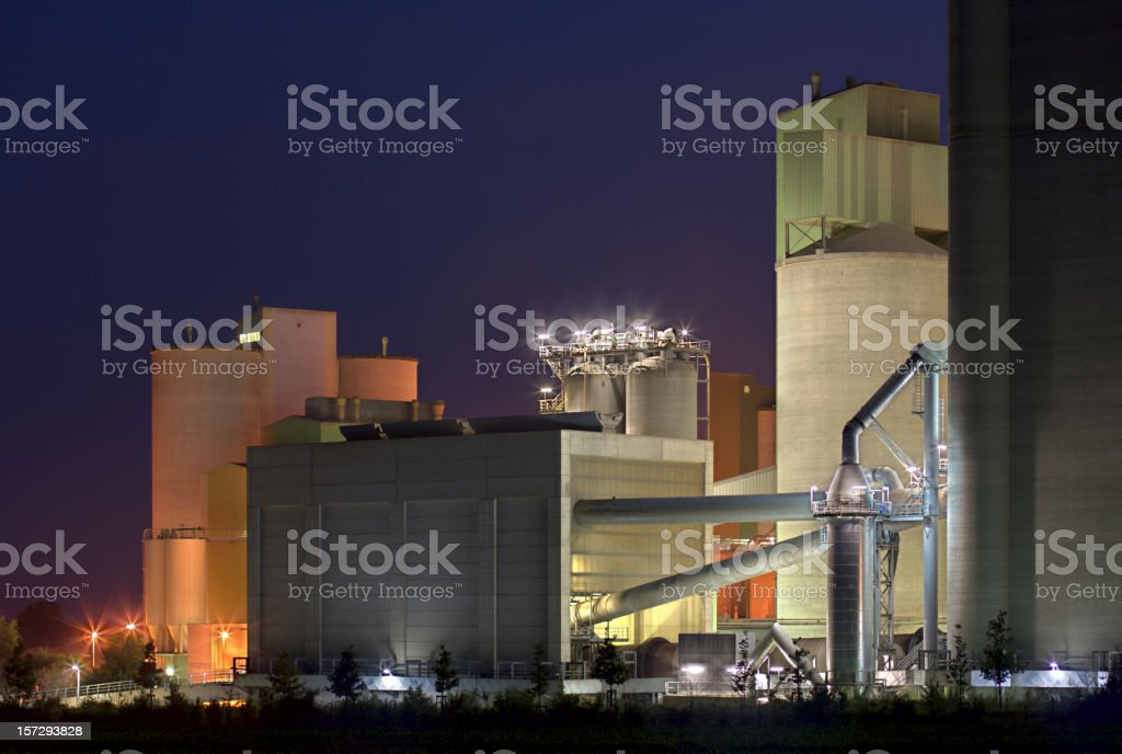 Colorful Cement Factory At Night royalty-free stock photo