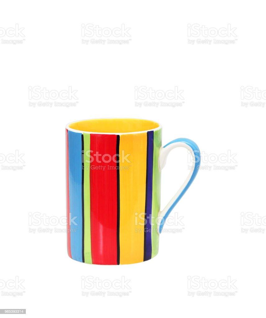colorful ceramic mug isolated on white royalty-free stock photo