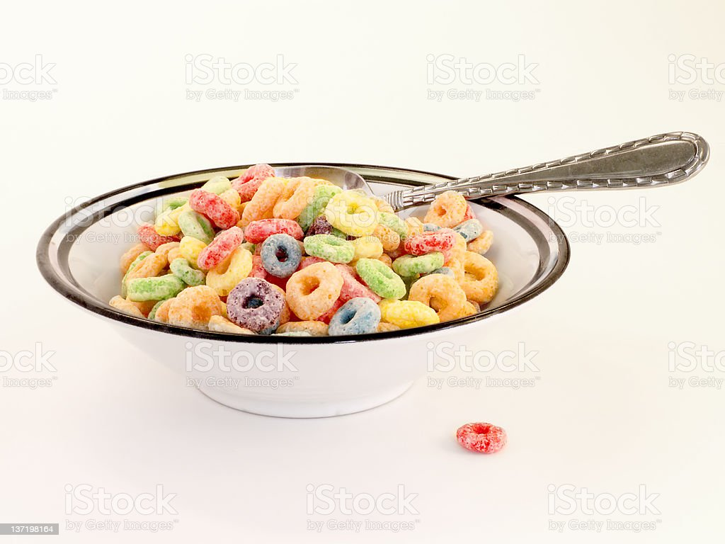 Colorful Cereal Bowl w/ Spoon royalty-free stock photo