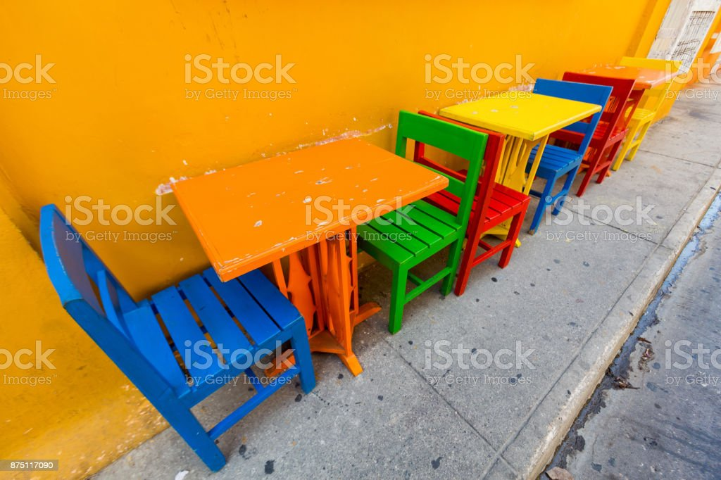 Colorful chairs and tables stock photo