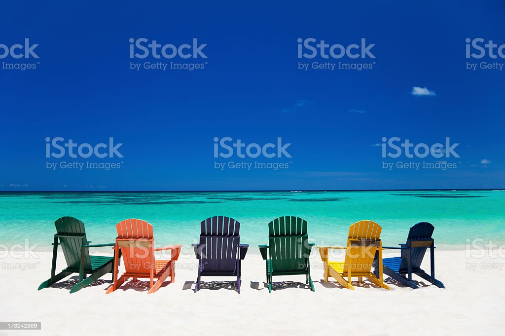 colorful chairs at a tropical beach in the Caribbean royalty-free stock photo