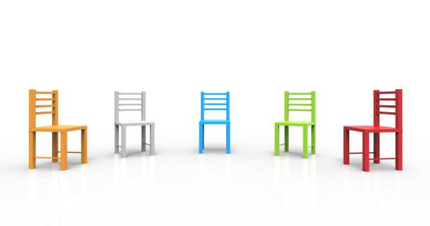 beyaz arka plan üzerinde izole renkli sandalyeler. tartışmak, görev, toplantı anlamına gelir. 3d çizim. - sosyal rol stok fotoğraflar ve resimler
