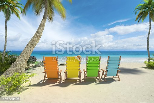 483959606 istock photo Colorful chairs on the beach 476729406
