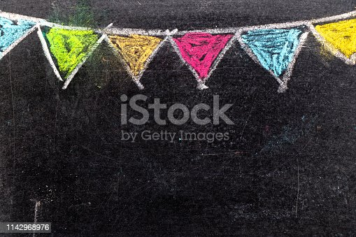 882318110 istock photo Colorful chalk drawing in hanging party flag shape on blackboard background 1142968976
