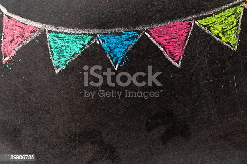 882318110 istock photo Colorful chalk drawing in hanging party flag shape on blackboard background 1189986785