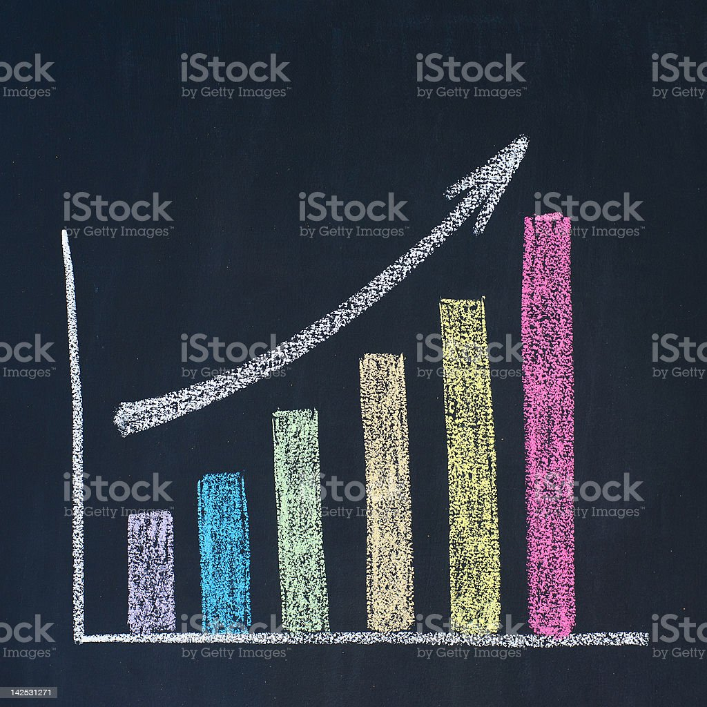 Colorful chalk drawn bar uptrend chart royalty-free stock photo