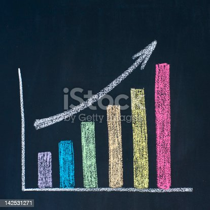 istock Colorful chalk drawn bar uptrend chart 142531271